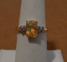 Size 7 Natural .91ct Ethiopian Opal & White Zircon 10K Yellow Gold Ring Cushion