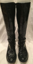 SAM EDELMAN Kailee Black Patent Leather Harness Riding Boots Size 6.5M