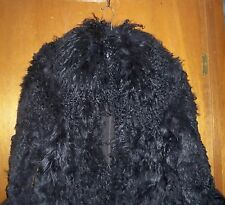 ZARA Mongolian Fur Black Winter Coat Absolutely Stunning! -Size L  **RARE*