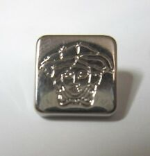 """GIANNI VERSACE MEDUSA HEAD SILVER METAL SQUARE BUTTON APPROXIMATELY .45"""" / 11mm"""