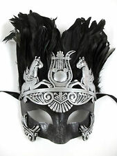 Men Silver Greek Roman Warrior Knight Caesar Masquerade Party Ball Feather Mask