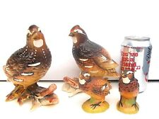 Vintage Pair of Norcrest Quail Figurines and Quail Salt Pepper Shakers Japan