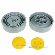 2 x Rear Wheels + Yellow End Cap Clips For Dyson DC04 Vacuum Cleaner Hoovers