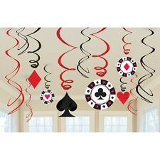 12 Place Your Bets Card Suit Casino Birthday Party Hanging Swirl Decorations