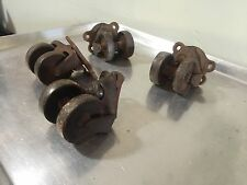 4 RARE Antique Double Wheel Cast Iron Industrial Caster Cart Wheels