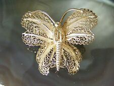 Vintage Sterling Silver Filigree Moth Butterfly BROOCH Pin Open Wire Work