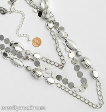 Chico's Signed Necklace Silver Tone Shiny Disks & Chunky Beads Long Chains