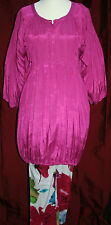 """MASAI XL dress SILKY cerise pink tunic QUIRKY 50"""" bust LONG-LINE 3/4 sleeves VGC"""