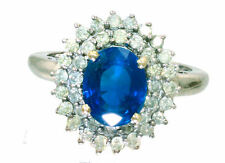 3.26 ctw Diamond and Sapphire Set in 18K White Gold Ring
