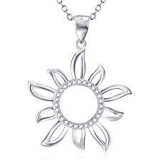 """925 Sterling Silver White Crystal CZ Charms Sun Flower Daisy Pendant Necklace18"""""""