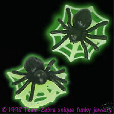 Funky GLOW SPIDER w-WEB EARRINGS Gothic Wiccan Wicked Witch Punk Costume Jewelry