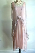 Nataya VINTAGE LOOK Pink Gown Sheer SILK Bridal Layered LONG Dress XL// NWT