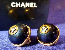 LARGE Classic Auth CHANEL France Pearl Clip EARRINGS CoCo CC LOGOS Signed Gold p