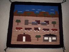 Navajo  Hand Woven Pictorial  Lifestyle Rug with 7 Cows by Cecelia Curley, NEW
