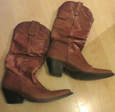 Lovely Fireback FB Tan Brown Leather Western Cowboy Boots - UK 3 EU 36 US 5
