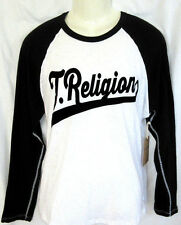 MENS TRUE RELIGION LONG SLEEVE RAGLAN WHITE/BLACK T-SHIRT SIZE L