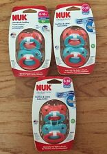LOT 6 NEW NIP SILICONE NUK ORTHODONTIC PACIFIERS NEW IN PACKAGE 2 PER PACK