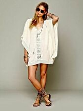 131980 New $128 Free People Rave On Crochet Lace Butterfly Kimono Tunic Top M