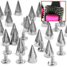 100x 14mm Metal Bullet Spike Studs Punk Bag Belt Clothes Leathercraft Cone Rivet