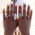 6X Vintage Boho Silver Stack Plain Above Knuckle Ring Midi Finger Rings Set Gift