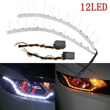 2x 8 LED Flexible Strip DRL White&Amber Switchback Sequential Turn Signal Light