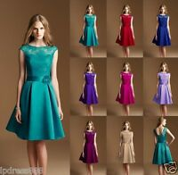 New Teal Satin Knee Length Formal Ball Party Cocktail Evening Bridesmaid Dresses