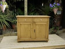 A VERY NICE LARGE OLD ANTIQUE STRIPPED PINE DRESSER BASE/SIDEBOARD/CUPBOARD