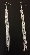 LONG SILVER CHAIN Sparkle Channel Set Crystal RHINESTONE Tassel Dangle EARRINGS