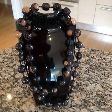 LONG TRIBAL AFRICAN WOOD BEAD NECKLACE