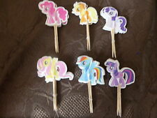 12 MY LITTLE PONY STYLE HORSES BUN BIRTHDAY CAKE TOPPER CUPCAKE PICK DECORATION