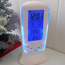 LED Digital Alarm Clock with Blue Backlight Striking Calendar Thermometer