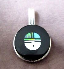 Zuni Jet, Opal & Turquoise Inlay Sunface Sterling Pendant by Lee Edaakie JP082