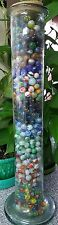 VINTAGE  RARE MARBLES  HUGE LOT OVER 600 With MARBLE  DISPLAY GLASS VASE