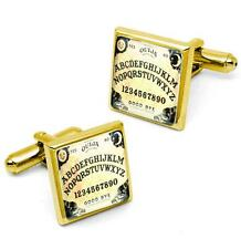 Traditional Ouija Spirit Board Glass Gold Plated Halloween Cufflink Set w/ Box