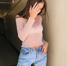 New! brandy melville Pink cropped sheer ruffle trimmed RENE GLITTER TOP S/M