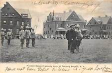 PLATTSBURG, NY, PRES. TEDDY ROOSEVELT REVIEWING TROOPS AT BARRACKS used 1907