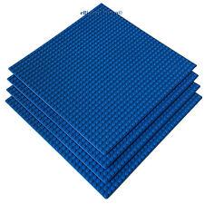 """4 Genuine LEGO® pieces + 4 LEGO Compatible 10"""" x 10'' Blue Building Base plates"""