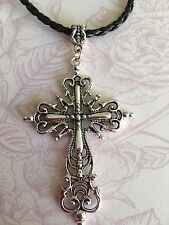Tibetan Silver Large filigree Cross Crusifix Charm faux leather choker necklace