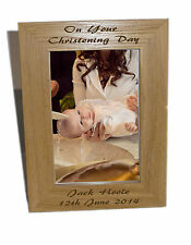 Christening Day Wooden Photo Frame 4x6 - Personalise This Frame - Free Engraving