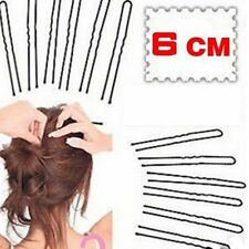 60pcs Hair Waved U-shaped Bobby Pin Barrette Salon Grip Clip Hairpins Black 6CM
