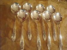 1941 Wm Rogers Mfg Silverplate NINE Triumph  Round Gumbo Soup Spoons