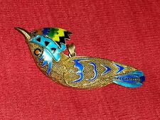 CHINESE EXPORT STERLING FILIGREE ENAMEL BIRD PENDANT PIN SIGNED SILVER CIRCA 20s