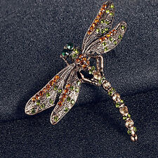 New Polished Jewelry Women's Vintage Noble Dragonfly Crystal Scarf Pin Brooches