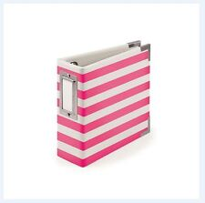 We R memory Keepers 4x4 Ring Album ~ NEON PINK  Stripes -10pg ~30823-2