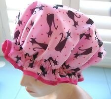 SHOWER CAP HAT  OZZY  HANDMADE, WATERPROOFPink with black cats Nylon outer