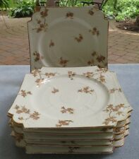 Set SIX CH Field Haviland Limoges Square Plates Pink Cherry Blossoms W Gold Trim