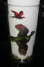 Vintage Hazel Atlas Pheasant Hunting Brid Tumbler Glass Beverage Barware