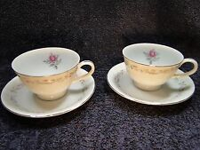 Fine China of Japan Royal Swirl Footed Tea Cup Saucer Sets TWO Excellent!