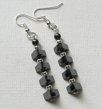 Elegant Triangle Hematite Long Drop/Dangle PIERCED Earrings Jellybean~