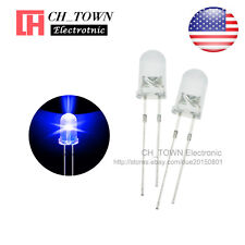 100pcs 5mm Transparent Led Water Clear Blue Light Diodes Round Top Ultra Bright